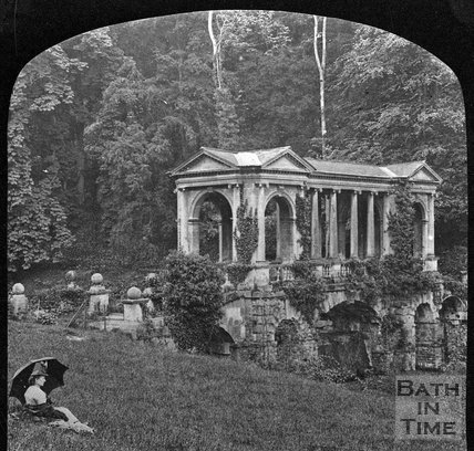 A lady sitting by the Palladian Bridge, Prior Park, Bath, c.1880s?