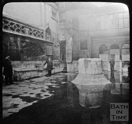 The Kings Bath drained for maintenance, Bath,  c.1910