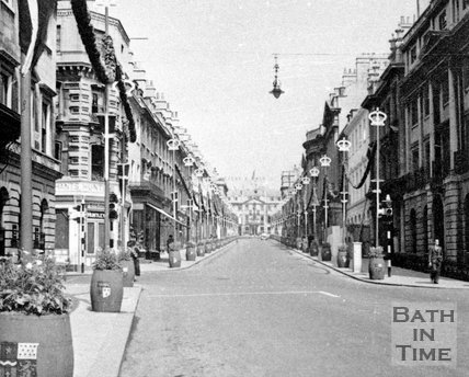 Milsom Street decorated for a royal event, c.1950s