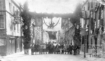 Thought to be Avon Street, decorated for the Royal Wedding, Bath, 1923