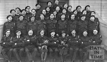 A group photograph of an unidentified wartime, thought to be in Bath, c.1940s