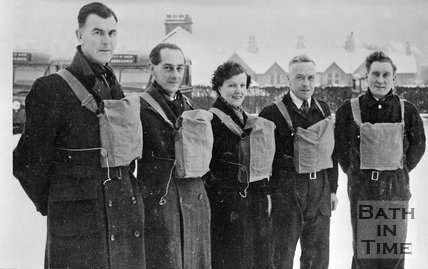 A group of unidentified wartime people in a snowy setting near Bath, c.1940s