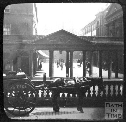 A delivery horse and cart outside the Grand Pump Room Hotel, Stall Street, Bath, c.1880
