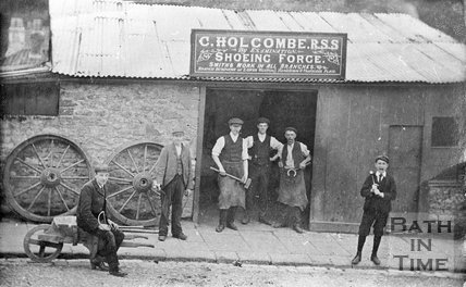 Charles Holcombe, Blacksmith, 9 Trafalgar Place, Upper Weston, Bath, c.1895