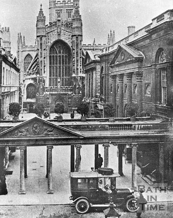The Colonnade and Abbey Church Yard, looking towards the West door of Bath Abbey, c.1910