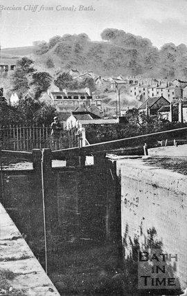 View of Beechen Cliff from a lock on the Kennet & Avon canal, Bathwick, c.1900