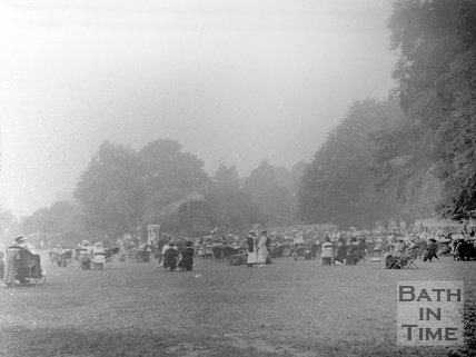 A gathering in front of the bandstand, Royal Victoria Park, Bath, c.1910