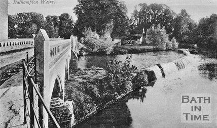 Bathampton Mill, toll bridge and Weir, near Bath, c.1910