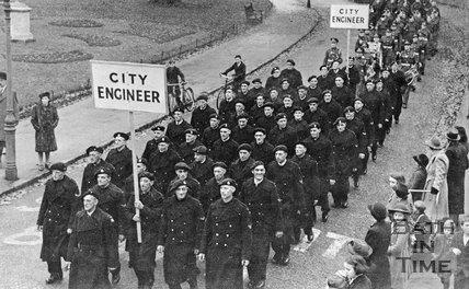 A Military Parade, possibly post war, Royal Victoria Park, Bath, c.1945