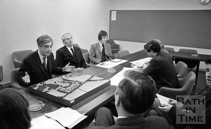 University Student Village press conference and site model, 14 January 1972