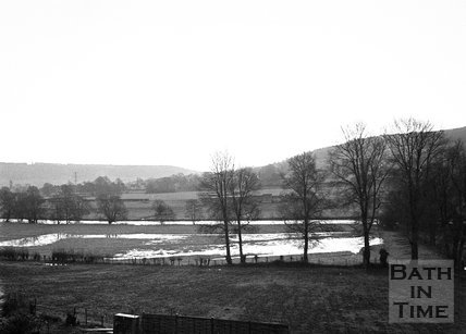 View of waterlogged Batheaston Meadows from Batheaston High Street , January 1972
