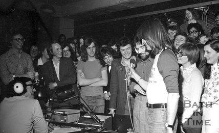 Legendary Disc Jockey Alan Fluff Freeman visits the University of Bath, 20 May 1974