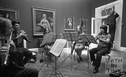 Rehearsals for the Bath Festival Wind Quintet at the Holburne Museum, 28 May 1971