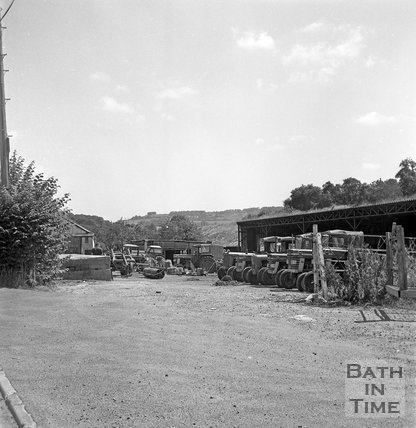 Tractors and farm storage buildings, Box Road, Bathford, Batheaston Relief Road affected areas, 14 July 1971