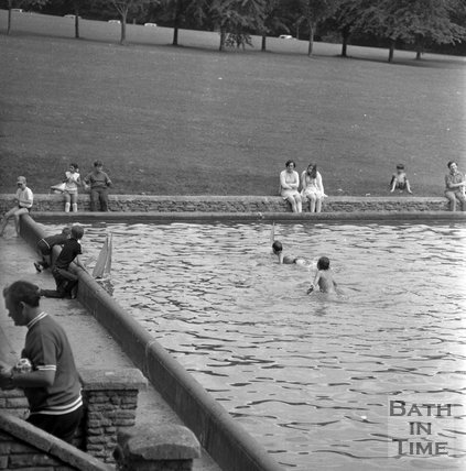 Children playing in the paddling pool in Royal Victoria Park, 19 July 1971