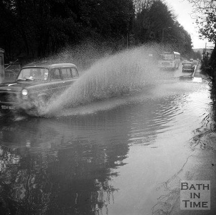 Flooding on London Road West, outside Bailbrook House, near Bath, 19 November 1971