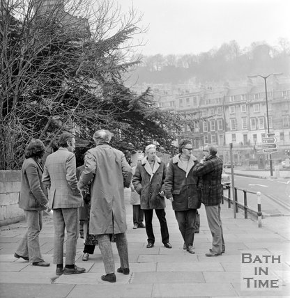 Members of the Bath Preservation Trust inspect areas to be affected by proposed new road and tunnel, 11 December 1971