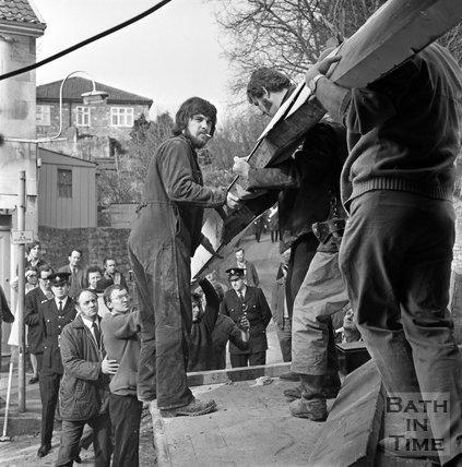 Runaway lorry crash into Brow Hill House, Northend, Batheaston, 21 March 1972