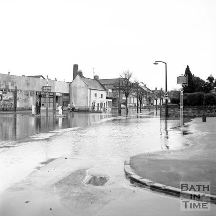 Midsomer Norton High Street flooded, 20 March 1972