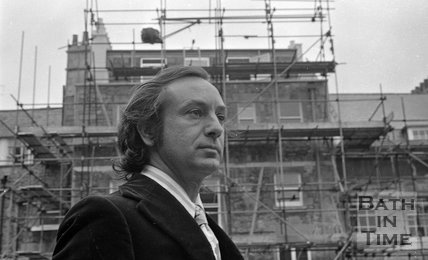 Karl Jaeger at the rear of his home in Lansdown Crescent, Bath, 1 July 1972