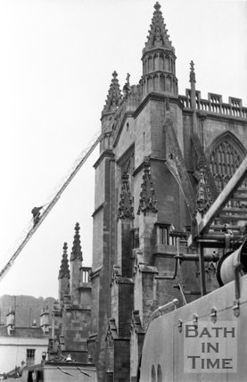 Firemen's ladder reaching to the top of the Abbey Tower, 19 July 1972