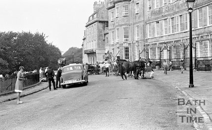 Filming Bequest to the Nation at Lansdown Crescent, Bath, 15 August 1972