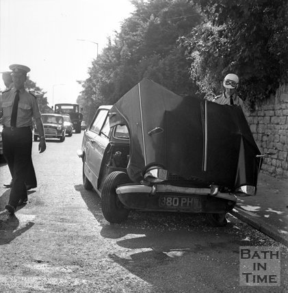 A four car pile-up on London Road West, Batheaston, 16 August 1972