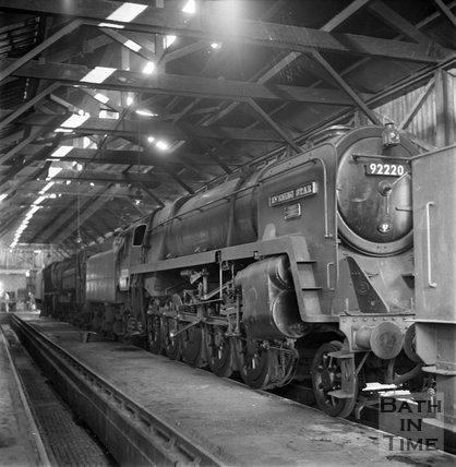 The Evening Star, Engine No 92220 at Swindon railway works, c.1962