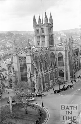 View of Bath Abbey from the Empire Hotel, Orange Grove, Bath, c.1959