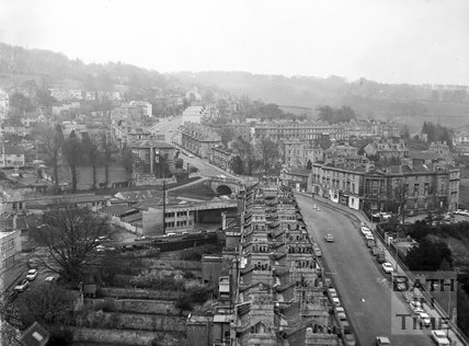 View of Bathwick Hill from the tower of St Mary's Church, c.1962