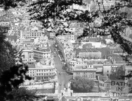 View of Southgate Street from Beechen Cliff, Bath, 4 August 1955