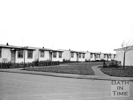 Post war pre-fabs in Winscombe Road, Odd Down Bath, 25 January 1955