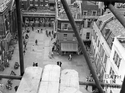 View from Bath Abbey looking down on Abbey Church Yard, Bath, c.1955