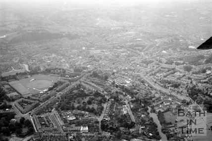 Aerial view of Bath looking over Bathwick towards the Recreation Ground, c.1955