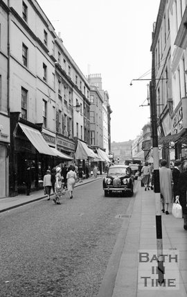 Looking up Westgate Street, Bath  to the east, c.1955
