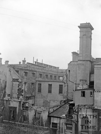 The bomb-damaged shell of the annex to the Mineral Hospital, Bath, c.1955