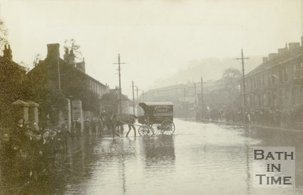 Lower Bristol Road, Bath during the floods c.1914