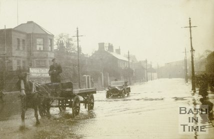 Lower Bristol Road, Bath in flood, c.1914