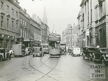 Tram car No 8 outside the Guildhall, High Street, Bath c.1930