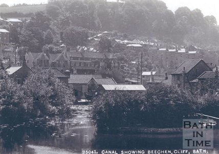 The Kennet and Avon canal basin at Widcombe, Bath, looking towards Beechen Cliff, c.1900