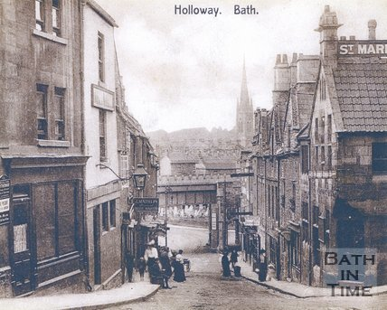 The bottom of Holloway, Bath, c.1880