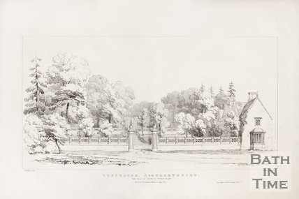 View of entrance gates and lodge to the old Claverton Manor, near Bath, 1837