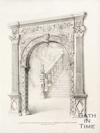 Compartment of screen and staircase of the old Claverton Manor, near Bath, 1837