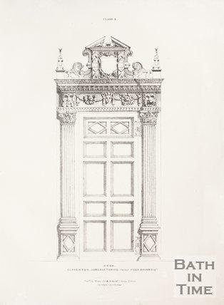 Internal door decoration of the old Claverton Manor, near Bath, 1837