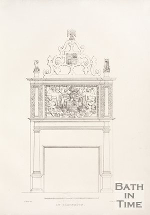 Internal fireplace with insignia at the old Claverton Manor, near Bath, 1837