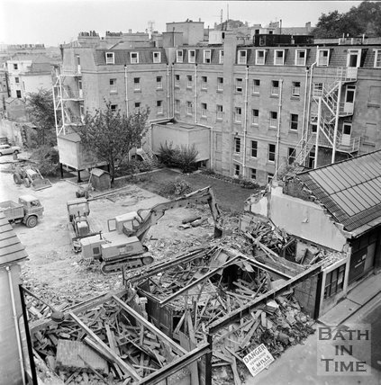 The demolition of the garage behind the Francis Hotel, Bath, 16 November 1972