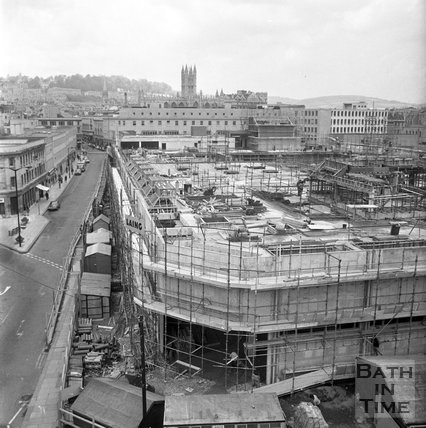 The new Southgate Shopping Centre nearing completion, Bath, 7 May 1973