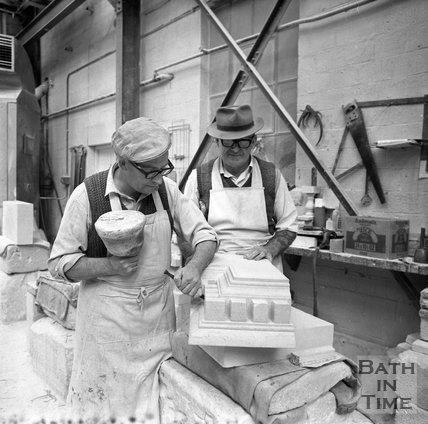 Two stonemasons work on Bath stone at Monks Path mine near Corsham, 20 September 1973