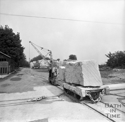 Hauling blocks of Bath stone from Monks Park mine, near Corsham, 20 September 1973