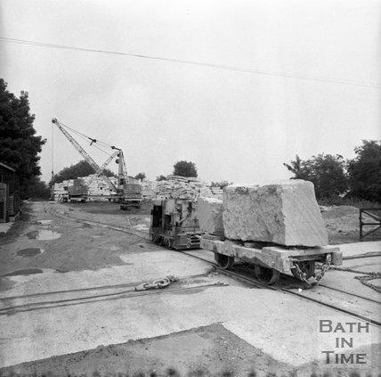 Hauling blocks of Bath stone from Monks Park mine, near Corsham, 20 September 1973